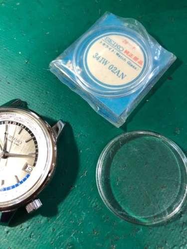 セイコーワールドタイム6217-7000ガラス交換、ケース研磨しました
